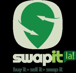 Large swapit icon text la logo slogon vert light