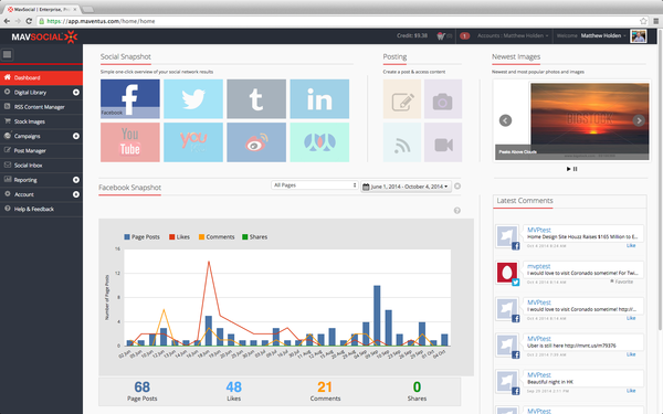 Mavsocial dashboard screenshot