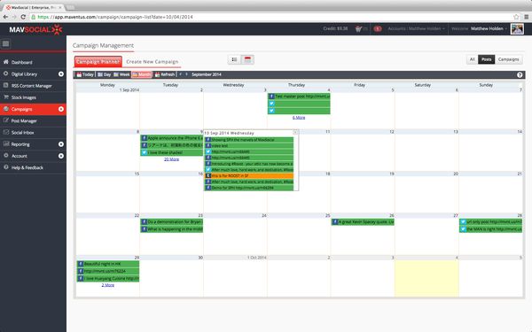 Mavsocial day week month camapign calander screenshot